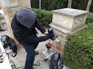 3-D scanning of a planter on-site at the residence